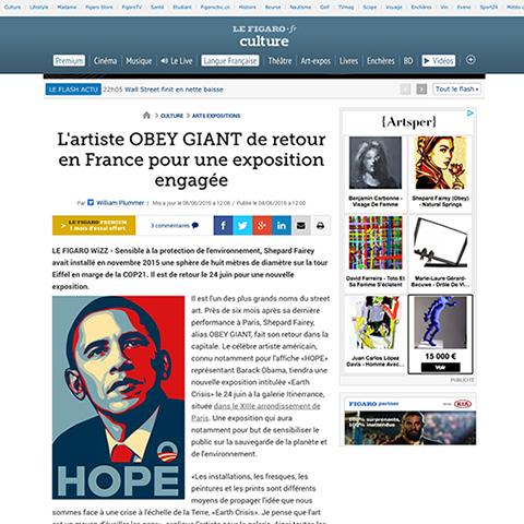 L'artiste OBEY GIANT de retour en France pour une exposition engagée