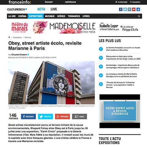 Obey, street artiste écolo, revisite Marianne à Paris