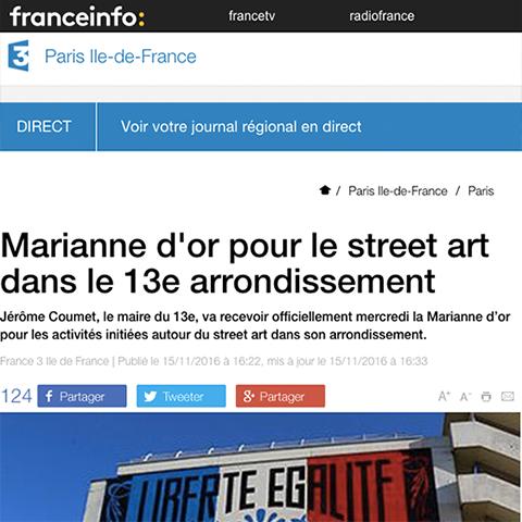 Marianne d'or pour le street art dans le 13e arrondissement