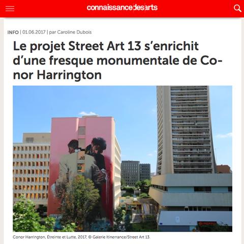 Le projet Street Art 13 s'enrichit d'une fresque monumentale de Conor Harrington