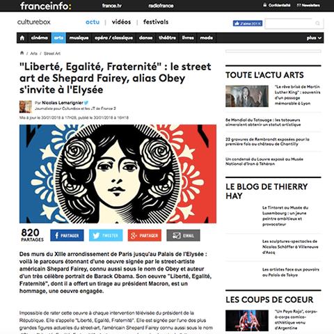 «Liberté, Egalité, Fraternité» : le street art de Shepard Fairey, alias Obey s'invite à l'Elysée